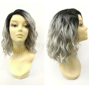 Gray lace front wavy heat resistant wig